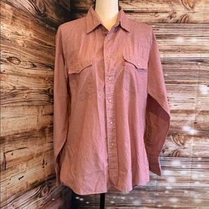 Levi's pinstripe pearls snap western shirt